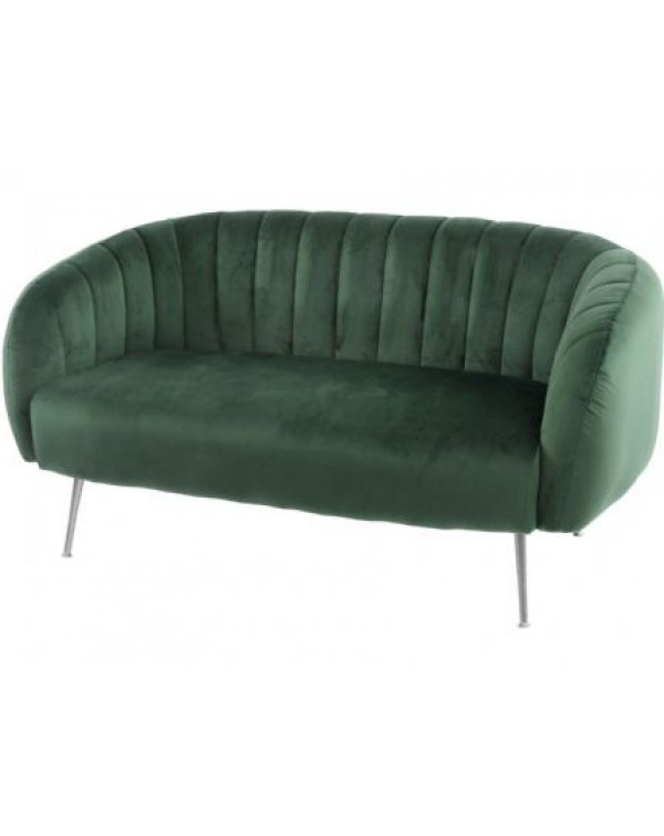 Libra Bardolino Green Velvet Pleated Two Seater S...